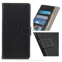 Litchi PU kožené peňaženkové puzdro na Samsung Galaxy A50 - černé
