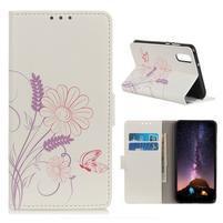 Patty PU kožené peňaženkové puzdro  na Samsung Galaxy A50 - motýl a květina
