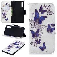 Stand PU kožené peněženkové púzdro na Samsung Galaxy A50 - krásni motýle