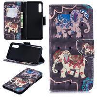 Stand PU kožené peněženkové púzdro na Samsung Galaxy A50 - slon