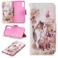Stand PU kožené peněženkové púzdro na Samsung Galaxy A50 - mačka a kvetina
