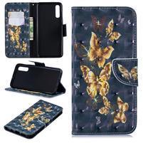 Stand PU kožené peněženkové púzdro na Samsung Galaxy A50 - zlatý motýľ