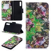 Stand PU kožené peněženkové púzdro na Samsung Galaxy A50 - motýľ a kvetina