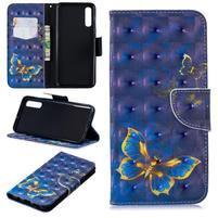 Stand PU kožené peněženkové púzdro na Samsung Galaxy A50 - modrý motýľ
