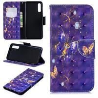 Stand PU kožené peněženkové púzdro na Samsung Galaxy A50 - fialový motýľ