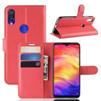 Stand PU kožené peňaženkové puzdro na Xiaomi Redmi Note 7 - červené