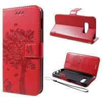 Tree PU kožené peňaženkové puzdro pre Samsung Galaxy S10e - červené