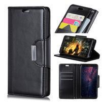 Wallet PU kožené peňaženkové puzdro na mobil Samsung Galaxy S10+ - čierne