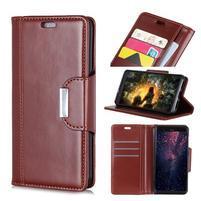 Wallet PU kožené peňaženkové puzdro na mobil Samsung Galaxy S10+ - hnedé