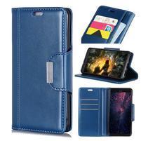 Wallet PU kožené peňaženkové puzdro na mobil Samsung Galaxy S10+ - modré
