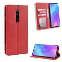 Vintage PU kožené peněženkové puzdro na mobil Xiaomi Redmi K20 / Mi 9T / Redmi K20 Pro - červené