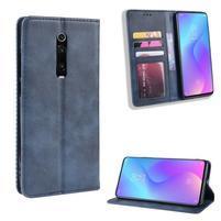 Vintage PU kožené peněženkové puzdro na mobil Xiaomi Redmi K20 / Mi 9T / Redmi K20 Pro - modré