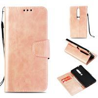 Vintage PU kožené flipové puzdro na Nokia 6.1 - ružovozlaté
