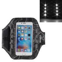 RX7 LED svietiace športové puzdro na ruku pre telefony do 145*70 mm - čierne
