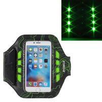 RX7 LED svietiace športové puzdro na ruku pre telefony do 145*70 mm - zelené