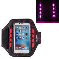 RX7 LED svietiace športové puzdro na ruku pre telefony do 165*85 mm - rose