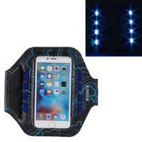 RX7 LED svietiace športové puzdro na ruku pre telefony do 165*85 mm - modré