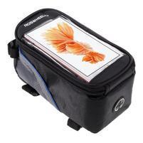 Prostorná brašna na kolo pro mobilní telefony do rozměru 158,1 x 78 x 7,1 mm - modrý lem