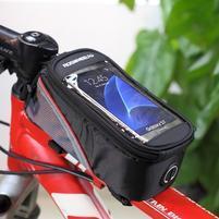 Brašna na kolo s úložným prostorem pro mobily do rozměru 138,3 x 67,1 × 7,1 mm - červený lem