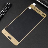 Celoplošné fixačné tvrdené sklo pre Nokia 6 - zlatý lem