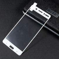 Celoplošné fixačné tvrdené sklo pre Nokia 6 - biely lem