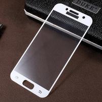Croco celoplošné fixačné sklo pre displej telefonu Samsung Galaxy A3 (2017) - biely lem