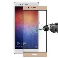 Celoplošné ochranné tvrdené sklo na Huawei P9 Plus - zlatý lem