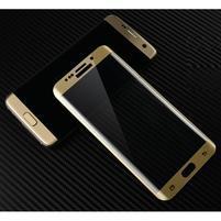 M3D fixačné celoplošné tvrdené sklo na Samsung Galaxy S6 edge - zlatý lem