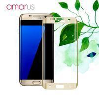 AMR celoplošné fixační tvrdené sklo na Samsung Galaxy S7 edge - zlatý lem