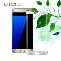 AMR celoplošné fixační tvrdené sklo na Samsung Galaxy S7 edge - biely lem
