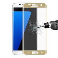 Full celoplošné tvrdené sklo na displej Samsung Galaxy S7 Edge - zlatý lem