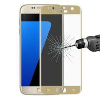 Full celoplošné tvrdené sklo na displej Samsung Galaxy S7 - zlatý lem