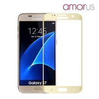 AMOR celoplošné tvrdené sklo na Samsung Galaxy S7 - zlatý lem