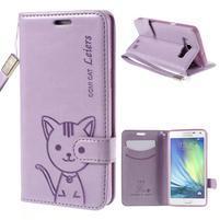 Mačička Domi PU kožené puzdro na Samsung Galaxy A5 - fialové