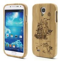 Drevené puzdro rozepínací pre Samsung Galaxy S4 - loď