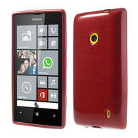 Gélové kartáčové puzdro na Nokia Lumia 520- červené