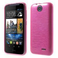 Gélové kartáčované puzdro pre HTC Desire 310- ružové