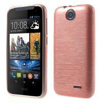 Gélové kartáčované puzdro pre HTC Desire 310- svetloružové