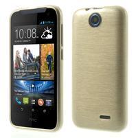 Gélové kartáčované puzdro pre HTC Desire 310- zlaté