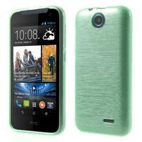 Gélové kartáčované puzdro na HTC Desire 310- cyan