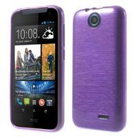 Gélové kartáčované puzdro pre HTC Desire 310- fialové