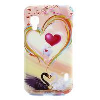 Gélové puzdro pre LG Optimus L5 Dual E455- labutí srdce