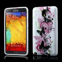 Gélové puzdro pre Samsung Galaxy Note 3- kvetinka motýl