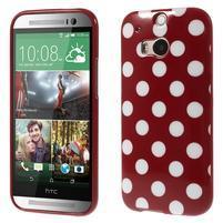 Gélové-PUNTÍKY puzdro pre HTC one M8- červené