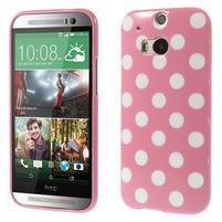 Gélové-PUNTÍKY puzdro pre HTC one M8- ružové