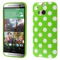 Gélové-PUNTÍKY puzdro pre HTC one M8- zelené