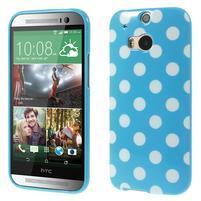 Gélové-PUNTÍKY puzdro pre HTC one M8- modré