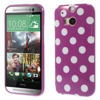 Gélové-PUNTÍKY puzdro pre HTC one M8- fialové
