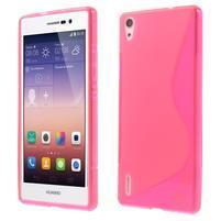 Gélové S-line puzdro na Huawei Ascend P7- růžové