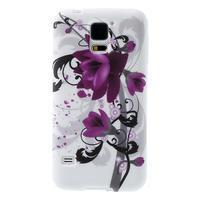 Gelové pouzdro na Samsung Galaxy S5- fialový květ